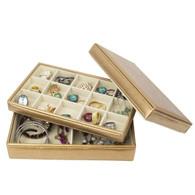 Golden Leather Jewelry Box / Case / Storage / Organizer (b--LJT001)