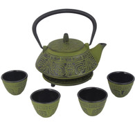 Japanese Cast Iron Pot Tea Set Black w/ Trivet (26 oz 800GN)