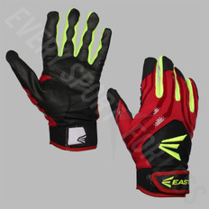 Easton HF3 Women's Hyperskin Batting Gloves - Black/Red/Optic Yellow