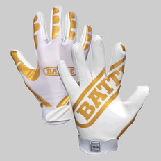 Battle Ultra Stick Football Junior Receiver Gloves - White/Gold