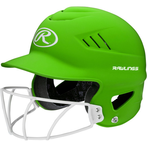 Rawlings Highligter Softball Batting Helmet with Mask - Green