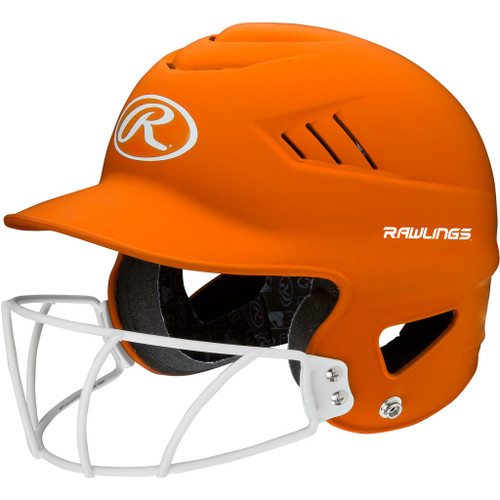 Rawlings Highligter Softball Batting Helmet with Mask - Orange