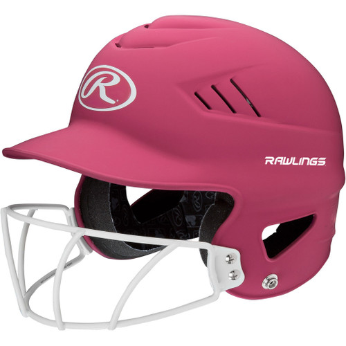 Rawlings Highligter Softball Batting Helmet with Mask - Pink