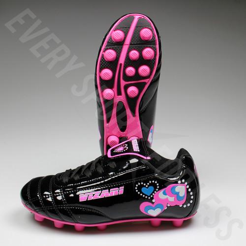 Vizari Retro Hearts Black and Pink Youth Soccer Cleats