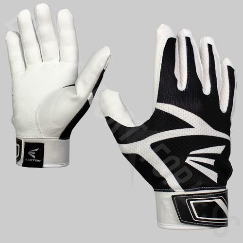 Easton Z3 Hyperskin Senior Baseball / Softball Batting Gloves - White / Black