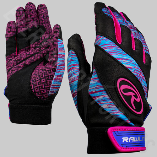 Rawlings Eclipse Women's Softball Batting Gloves - Black / Pink / Cyan