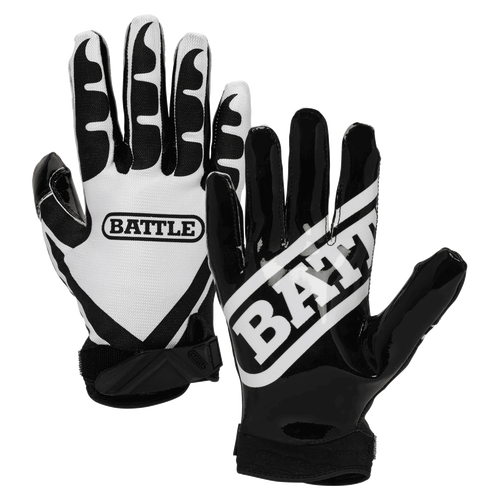 Battle Ultra Stick Junior Football Receiver Gloves - Black, White