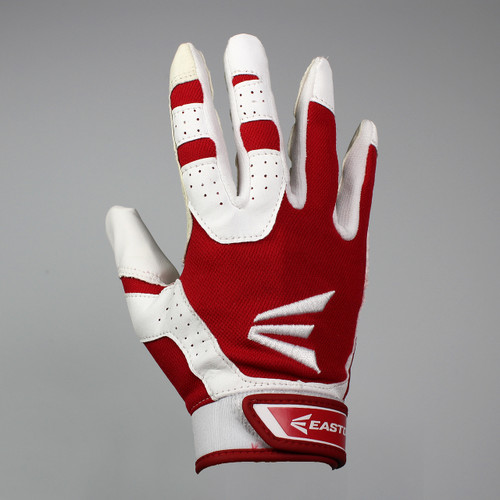 Easton HS3 Senior Hyperskin Batting Gloves - White / Red
