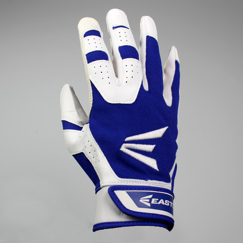 Easton HS3 Senior Hyperskin Batting Gloves - White / Royal