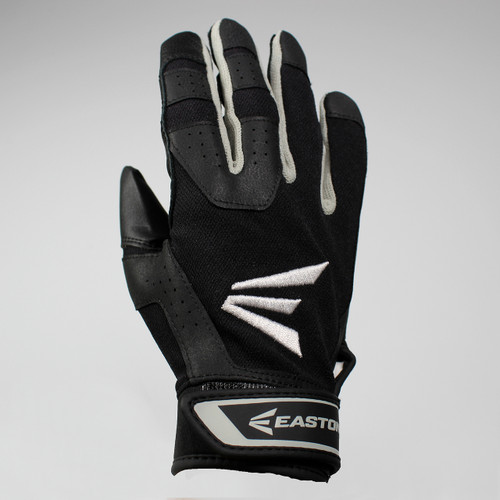 Easton HS3 Senior Hyperskin Batting Gloves - Black / Black