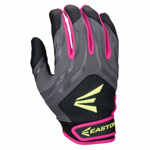 Easton HF3 Youth Hyperskin Batting Gloves - Black / Grey / Pink