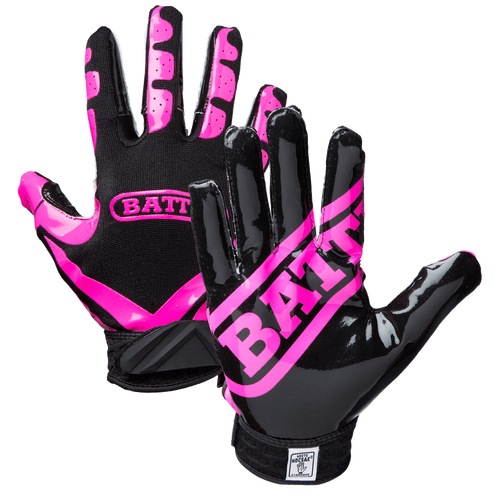 Battle Ultra Stick Football Junior Receiver Gloves - Pink/Black