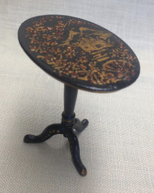 Tilt Top Black Chinoiserie Table