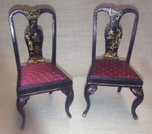 Pair of Chairs - Black Chinoiserie