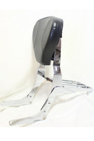 Chrome Passenger Sissy Bar Set: Sissy Bar Rack, Side Brackets, Luggage Rack, Black Backrest Pad