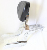 Chrome Sissy Bar Set: Sissy Bar Rack, Side Brackets, Luggage Rack, Black Backrest Pad