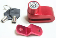 Red Motorcycle Disc Brake and Wheel Lock with Keys Set