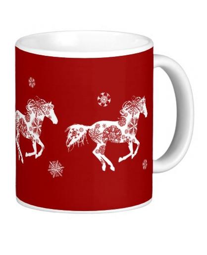 Festive Christmas Snowflake Horse Ceramic Mug The
