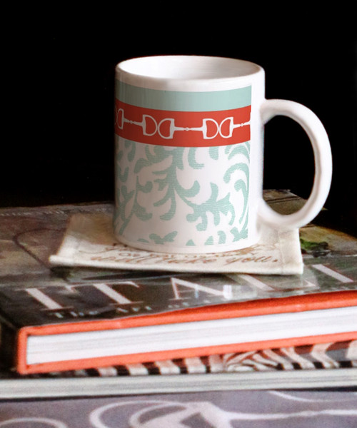 Equestrian Horse Bits Damask Pattern Ceramic Mug The