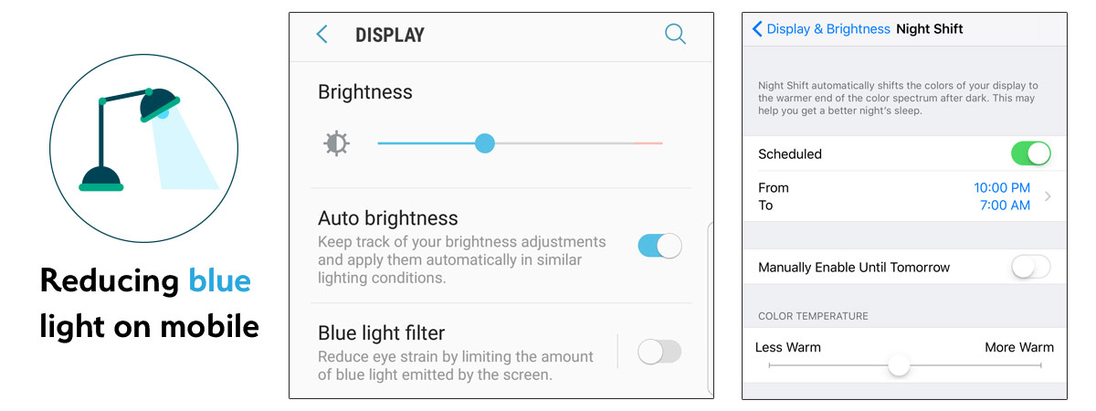 Adjust blue light filter on iPhone and Samsung