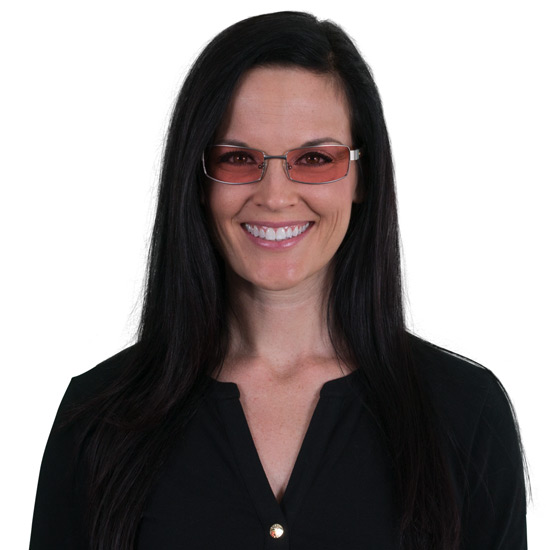 Woman wearing Haven TheraSpecs Indoor glasses