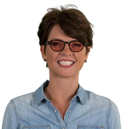 Woman wearing Keaton TheraSpecs Indoor tortoise glasses