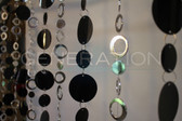 Beaded Curtain Silver Circles and Black PVC Discs