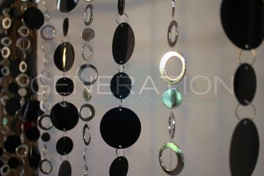Silver & Black Hip Circles Beaded Curtains - 3 Feet by 6 Feet