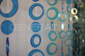 Blue & Green Hip Circles Beaded Curtains - 3 Feet by 6 Feet