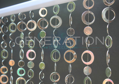 Silver Hip Circles Beaded Curtains - 3 Feet by 6 Feet - 15 Strands