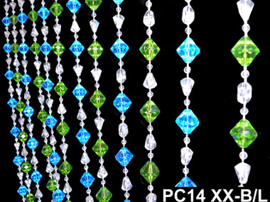 Blue & Green Gemstone Beaded Curtains - 3 Feet by 6 Feet