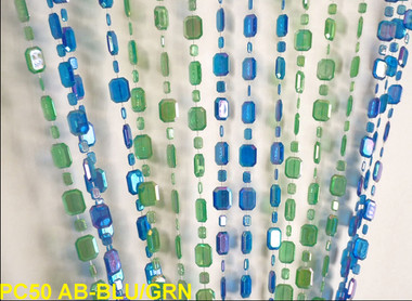 Blue & Green Emerald Beaded Curtains - 3 Feet by 6 Feet
