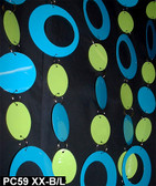 Blue & Green Hip Circles Chained Beaded Curtains - 3 Feet by 6 Feet