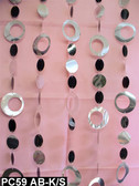 Silver & Black Hip Circles Chained Beaded Curtains - 3 Feet by 6 Feet