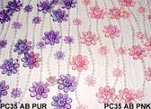 Doorway Beaded Curtains Iridescent Daisies Pink