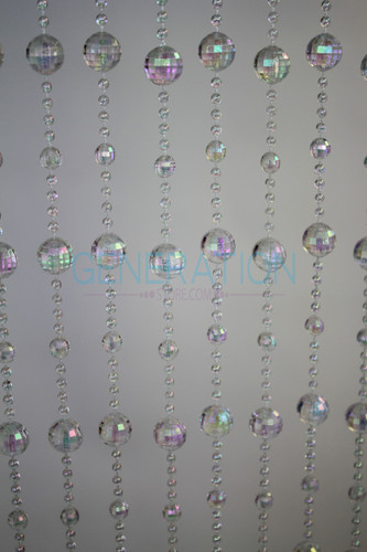Crystal Iridescent Disco Ball Beaded Curtains - 3 Feet by 6 Feet