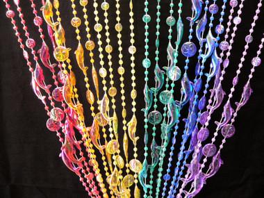 Rainbow Iridescent Dolphins Beaded Curtains
