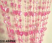 Doorway Beaded Curtains Iridescent Hearts Pink