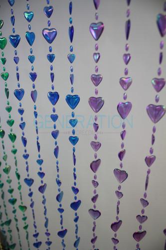 Hanging Doorway Beaded Curtains Iridescent Heart Beads Rainbow Color