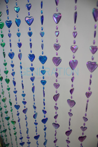 Rainbow Iridescent Hearts Beaded Curtains