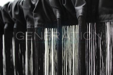 Black String Curtains - 3 Feet by 9 Feet
