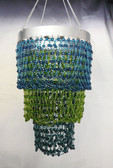 Blue & Lime mini Party bead chandelier 3 Tiers Beaded Chandelier