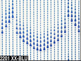 Blue Non Iridescent Raindrops Beaded Curtain