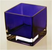 """Blue Square Vase 4"""" x 4"""" x 4"""""""