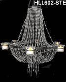 Empire Chandelier Faux Steel Ball Chain With Candle Votives On Sides.