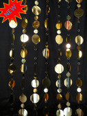 Large Gold Disc Beaded Curtains - 3 Feet by 8 Feet