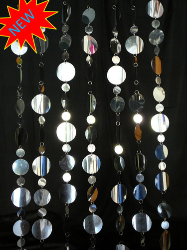 Large Silver Disc Beaded Curtains - 3 Feet by 8 Feet
