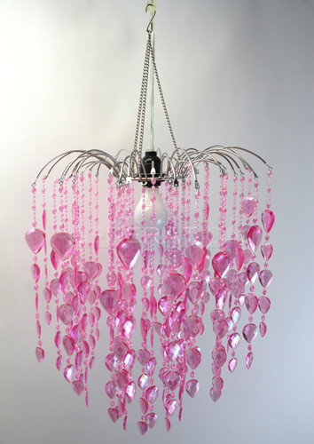 Beaded Chandelier Large Waterfall Pink