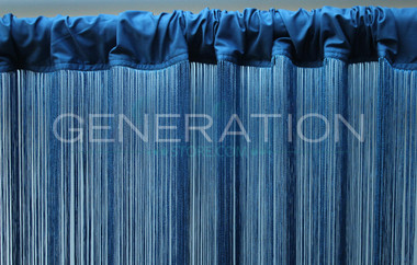 Blue String Curtains - Up to 20 Feet Long