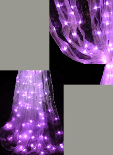 Pink Organza LED Lighted Curtains - 3 Feet by 8 Feet